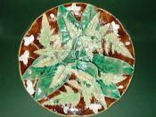 Lovely Majolica Fern and Flower plate c1870